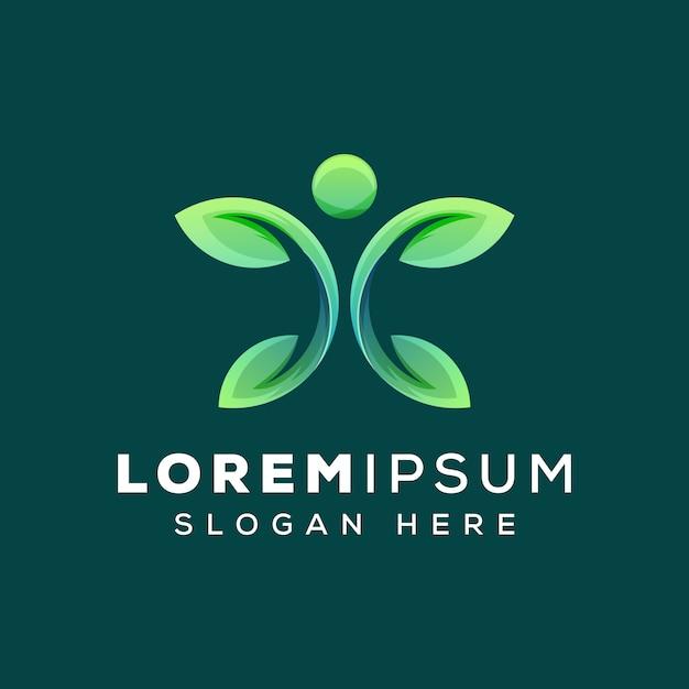 Modello di concetto di logo foglia umana o persone Vettore Premium