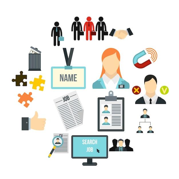 Set di icone di gestione delle risorse umane, stile piano Vettore Premium