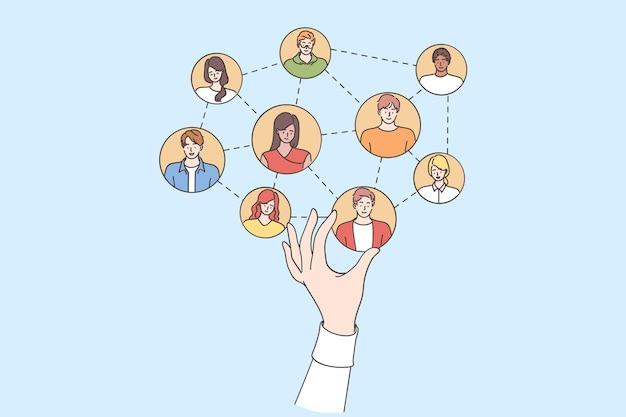 Mano del responsabile delle risorse umane che sceglie i membri del team di costruzione online facendo la selezione per il team di progetto di lavoro Vettore Premium