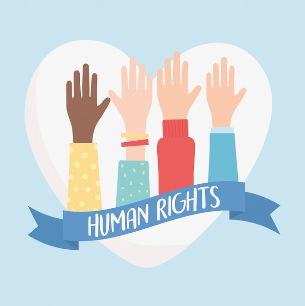 Diritti umani, mani sollevate amore illustrazione vettoriale nastro cuore Vettore Premium