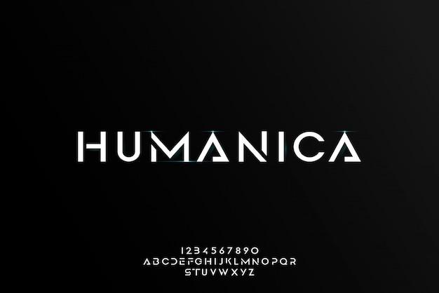 Humanica, un carattere astratto futuristico alfabeto con tema tecnologico. moderno design tipografico minimalista Vettore Premium