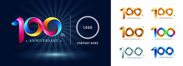Logo dell'anniversario di celebrazione di cento anni, lettere stilizzate di numero origami, logo dei nastri di torsione Vettore Premium