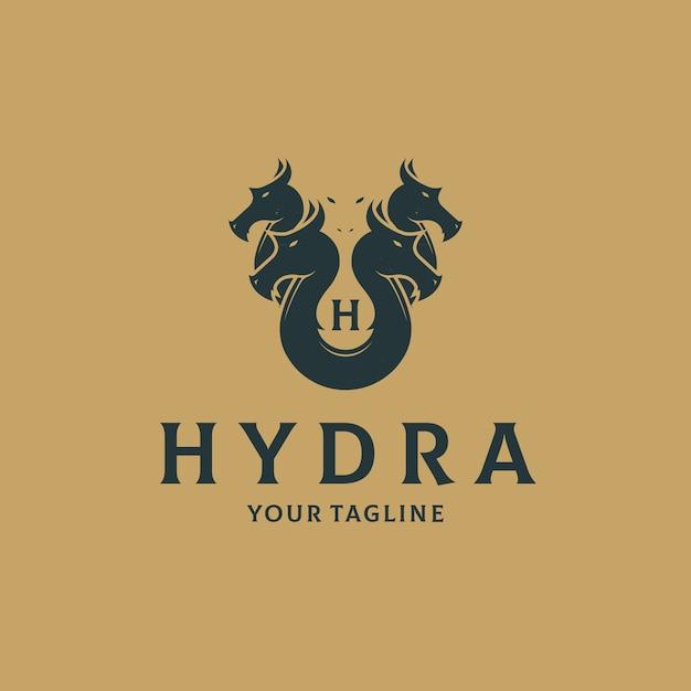 Modello di logo vintage teste hydra Vettore Premium