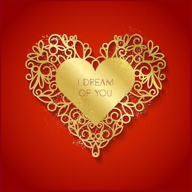 Ti sogno il testo sullo sfondo della sagoma a forma di cuore d'oro Vettore Premium