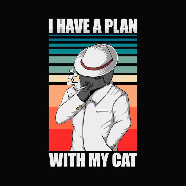 Ho un piano con la mia illustrazione retrò del gatto Vettore Premium