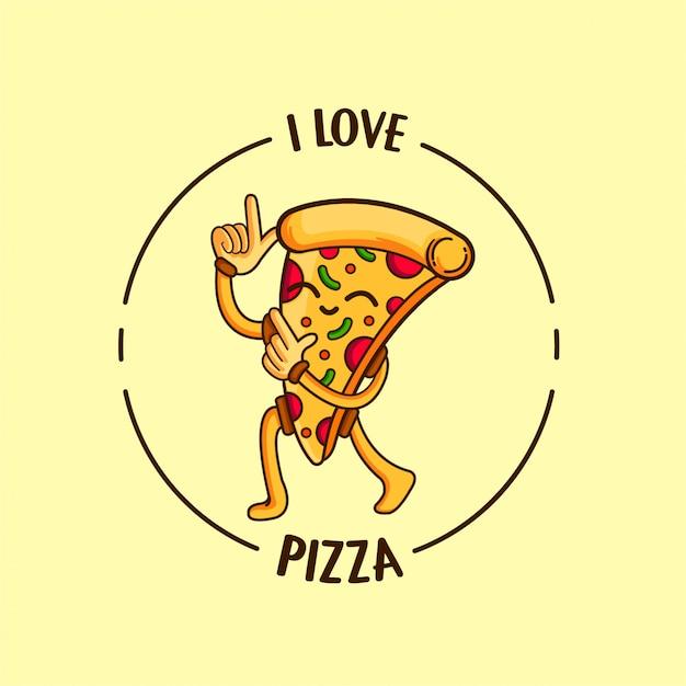 Amo la pizza Vettore Premium