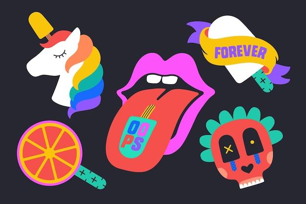 Collezione di clipart di gelato con unicorno, bocca, stile cartone animato Vettore Premium