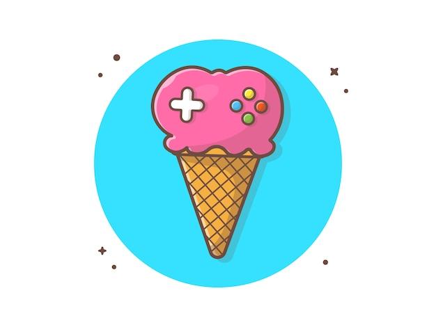Illustrazione dell'icona di vettore di gioco del gelato Vettore Premium