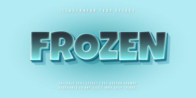 Effetto del carattere stile di testo allegro congelato ghiaccio Vettore Premium