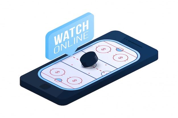 Illustrazione isometrica piana di concetto online del hockey su ghiaccio. concetto isometrico piatto hockey online. Vettore Premium