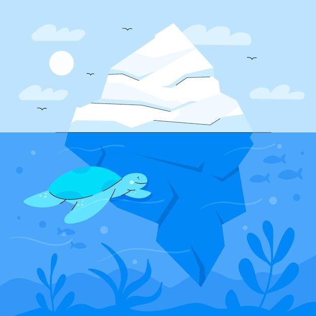 Illustrazione dell'iceberg con la tartaruga Vettore Premium