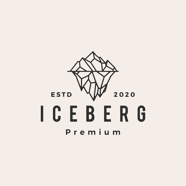 Iceberg mount vintage icona logo illustrazione Vettore Premium