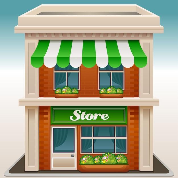 Icona della facciata di un negozio o un caffè Vettore Premium