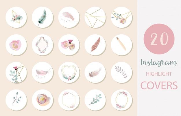 Icona della copertina in evidenza di instagram con fiore, piuma, foglia per i social media Vettore Premium