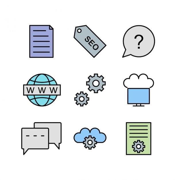 Icona set di ottimizzazione dei motori di ricerca Vettore Premium