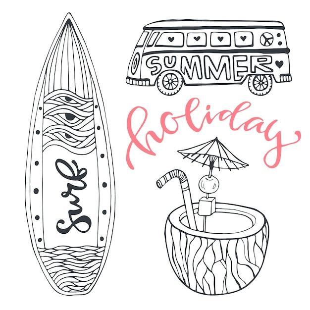 Icona imposta vacanze estive al mare Vettore Premium