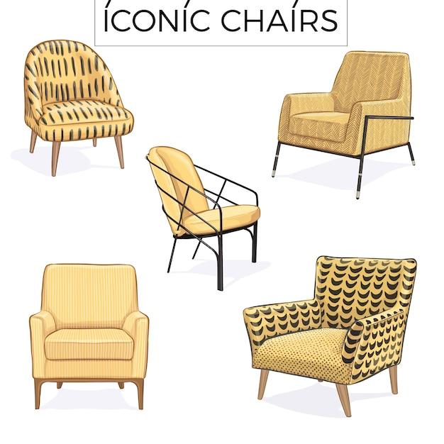 Illustrazione disegnata a mano sedia iconica Vettore Premium