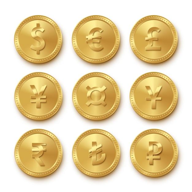 Icone di monete d'oro con diverse valute impostate, simboli di raccolta di dollaro, euro, sterlina, yen, yuan, rupia, lira turca, rublo, segni di denaro realistici isolati Vettore Premium