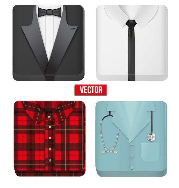 Icone smoking e camicia bianca, panno uomo medico e villaggio. illustrazione modificabile su sfondo bianco. Vettore Premium