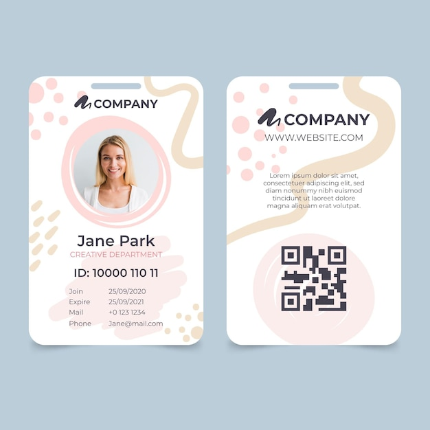 Carta d'identità con foto segnaposto Vettore Premium