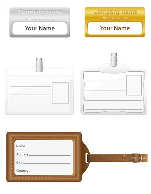 Icone di set di carte d'identità. Vettore Premium