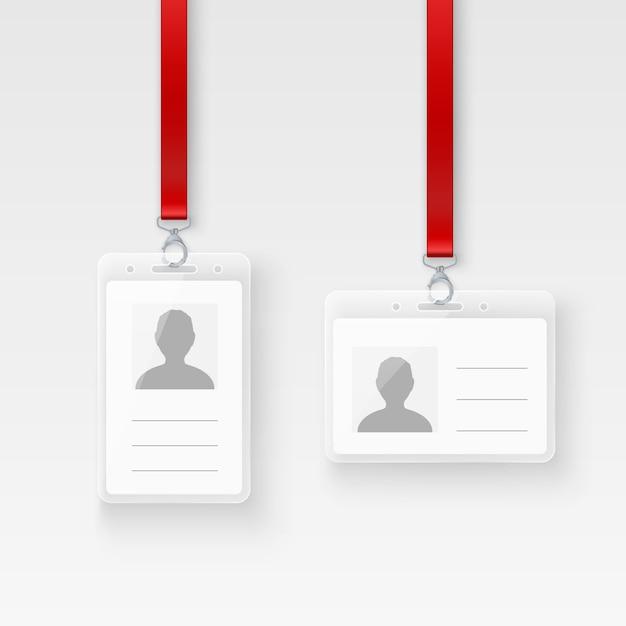 Identificazione carta d'identità personale in plastica. distintivo id vuoto con chiusura e cordino. illustrazione su sfondo trasparente Vettore Premium