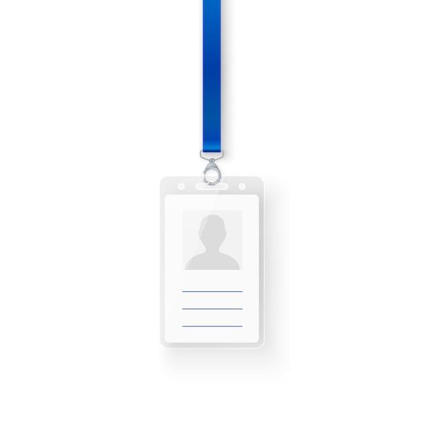 Identificazione carta d'identità personale in plastica. modello vuoto di badge id con fibbia e cordino. illustrazione su sfondo bianco Vettore Premium