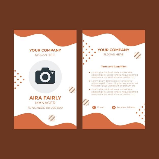 Modello di carta d'identità per pasticceria Vettore Premium