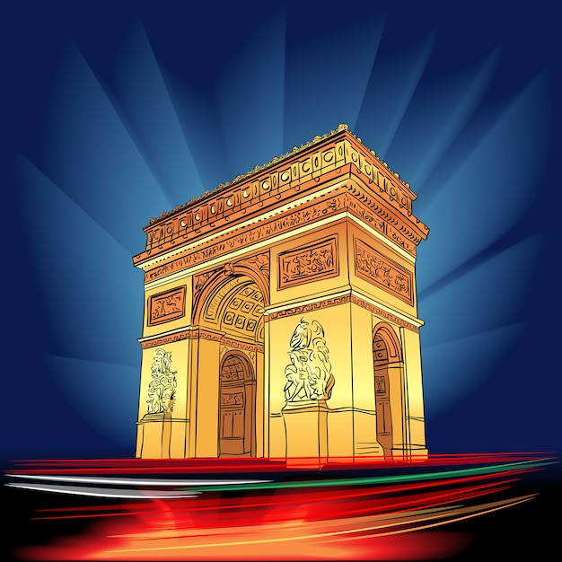 Illuminato arc de triomphe parigi di notte francia Vettore Premium