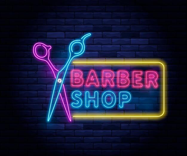 Barbiere al neon illuminato. Vettore Premium