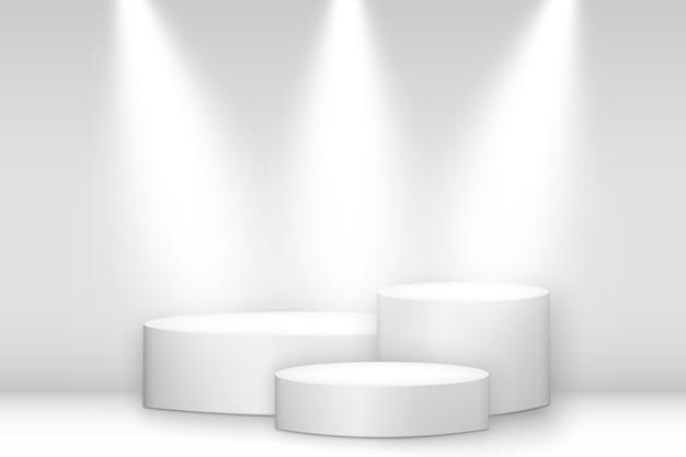 Piedistallo rotondo bianco illuminato. podio del vincitore, piattaforma con riflettori Vettore Premium