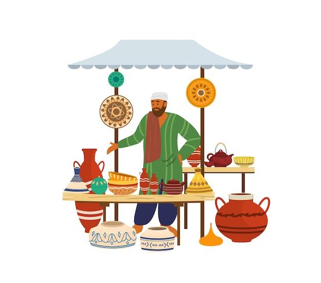 Illustartion di negozio di strada in ceramica con venditore arabo. Vettore Premium