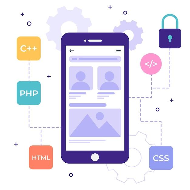 Concetto di sviluppo di app illustrato con linguaggi di programmazione Vettore Premium