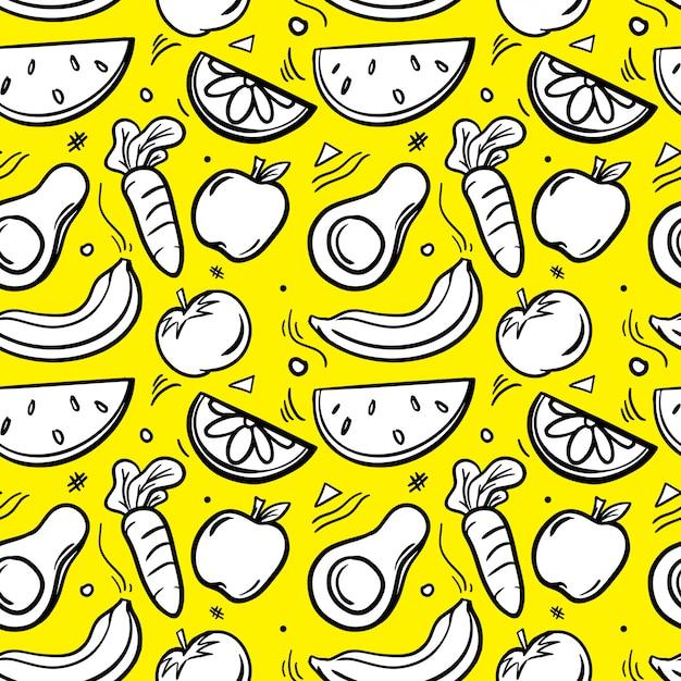 Reticolo senza giunte illustrato dell'ortaggio da frutto Vettore Premium