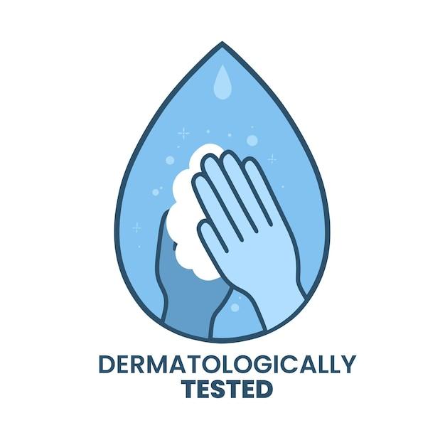 Mani illustrate lavarsi le mani nel logo di sapone Vettore Premium