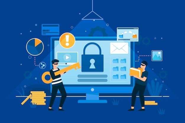 Illustrato rubare il concetto di dati Vettore Premium