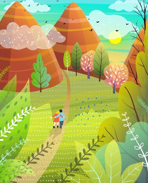 Illustrato fuga estiva alla natura con colline e montagne coppia che cammina sulla strada. Vettore Premium