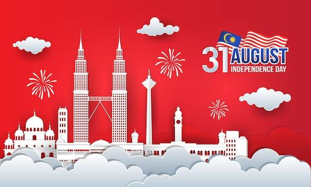 Illustrazione del 31 agosto festa dell'indipendenza della malesia con skyline della città, bandiera della malesia e fuochi d'artificio in stile taglio carta. Vettore Premium