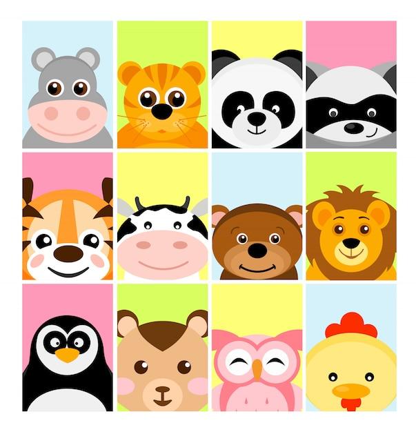 Illustrazione di adorabili cuccioli di animali su sfondi di colore per banner, flayer, cartello per bambini Vettore Premium