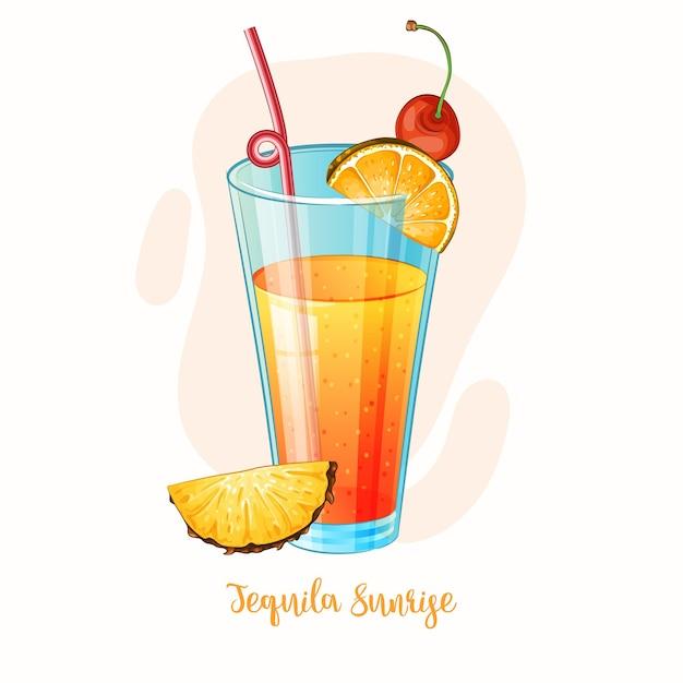 Illustrazione di alcol cocktail tequila sunrise Vettore Premium