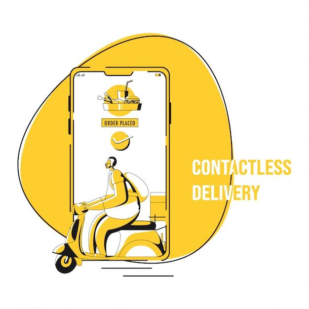 Illustrazione dell'ordine di approvazione inserito nello smartphone con il corriere che guida lo scooter per la consegna senza contatto durante il coronavirus. Vettore Premium