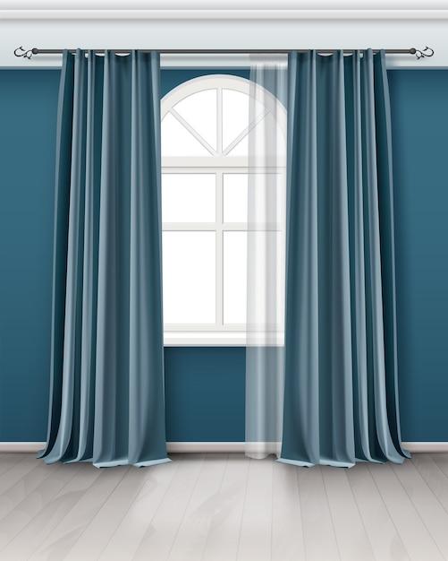 Illustrazione della finestra ad arco con tende blu verde acqua lungo paio appese su asta in camera Vettore Premium