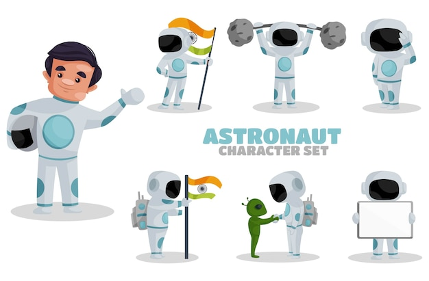 Illustrazione del set di caratteri astronauta Vettore Premium