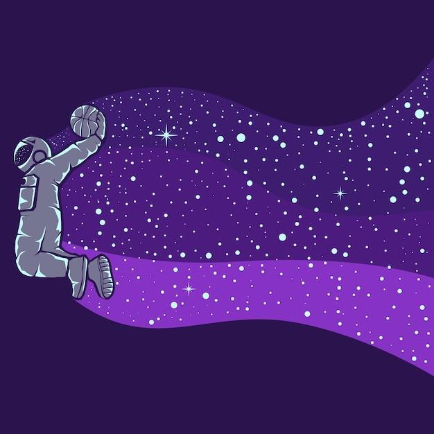 Illustrazione dell'astronauta che gioca a basket Vettore Premium