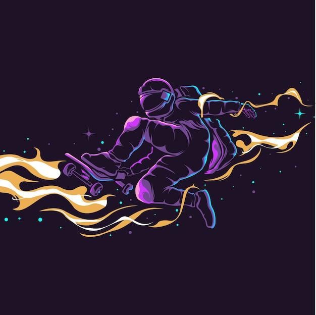 Illustrazione astronauta skateboard Vettore Premium