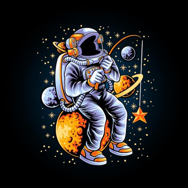Illustrazione degli astronauti che pescano una stella Vettore Premium