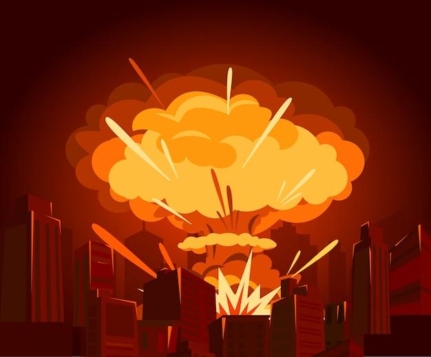 Illustrazione della bomba atomica in città. guerra e concetto di fine mondo in e. i pericoli dell'energia nucleare. Vettore Premium