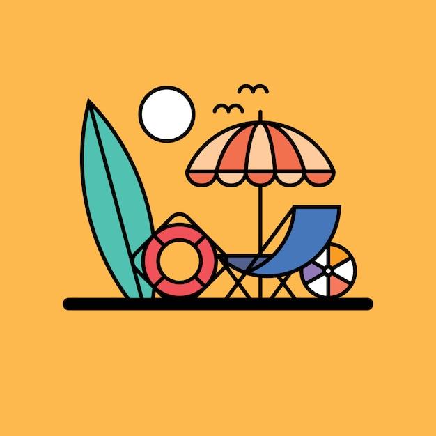 Illustrazione della spiaggia Vettore Premium
