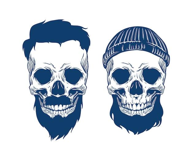 Illustrazione di teschi barbuti in cappello con taglio di capelli e baffi Vettore Premium
