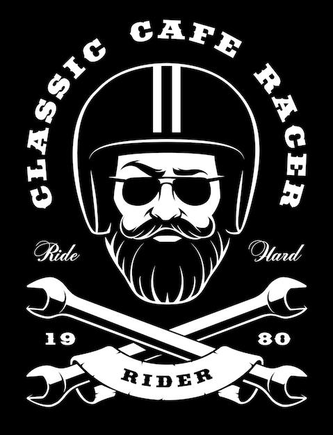 Illustrazione del motociclista-hipster con elegante barba e chiavi incrociate. (versione su sfondo scuro) Vettore Premium